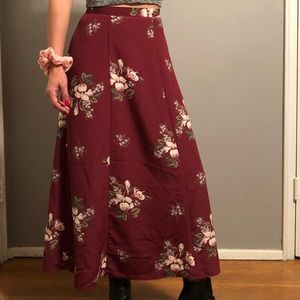Maroon floral a-line long skirt